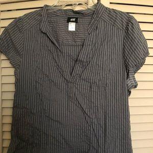 H&M Gray Striped Collar Dress Blouse Size 12 EUC
